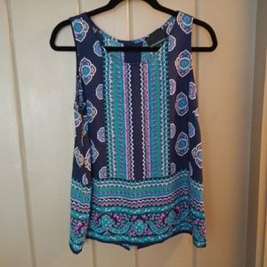 Cynthia Rowley Navy Print Tank Sized Medium